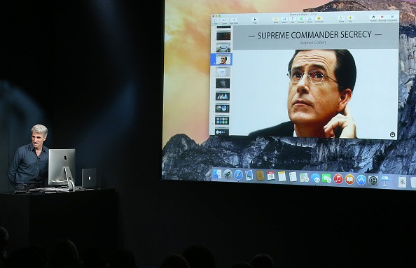 Apple's Senior Vice President of Software Engineering Craig Federighi speaks with talk show host Stephen Colbert via a conference call during an event introducing new iPads at Apple's headquarters on October 16, 2014 in Cupertino, California.