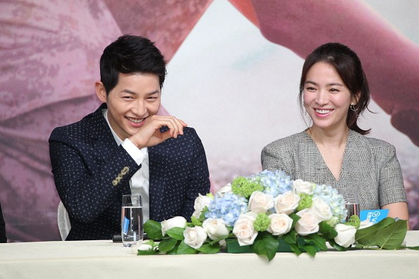 Actor Song Joong-ki and actress Song Hye-kyo attend television drama 'Descendants of the Sun' press conference on April 5, 2016 in Hong Kong, Hong Kong.