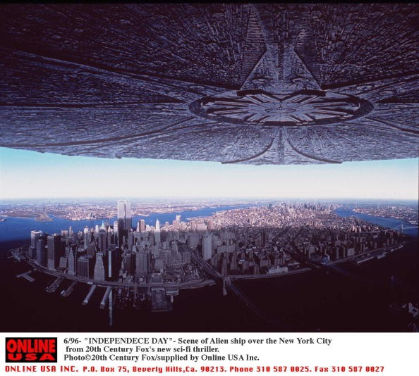 6/96- Alien Ship Over New York City. Scenes From 'Independence Day' The New Thriller From 20Th Century Fox.