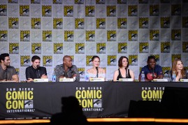 Actors Tyler Hoechlin, Jeremy Jordan, Mehcad Brooks, Melissa Benoist, Chyler Leigh, and David Harewood and executive producer Sarah Schechter attend the 'Supergirl' Special Video Presentation and Q&A during Comic-Con International 2016 at San Diego Conven