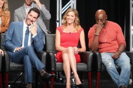 Actors Tom Ellis, Tricia Helfer and DB Woodside speak onstage at 'Gotham/Lucifer' panel discussion during the FOX portion of the 2016 Television Critics Association Summer Tour at The Beverly Hilton Hotel on August 8, 2016 in Beverly Hills, California.