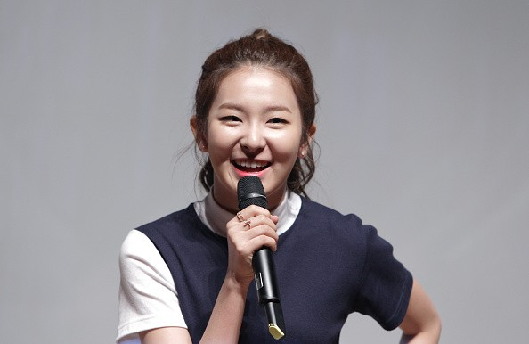 Red Velvet's Seulgi speaks in front of the media at the SMTOWN Coexartium.