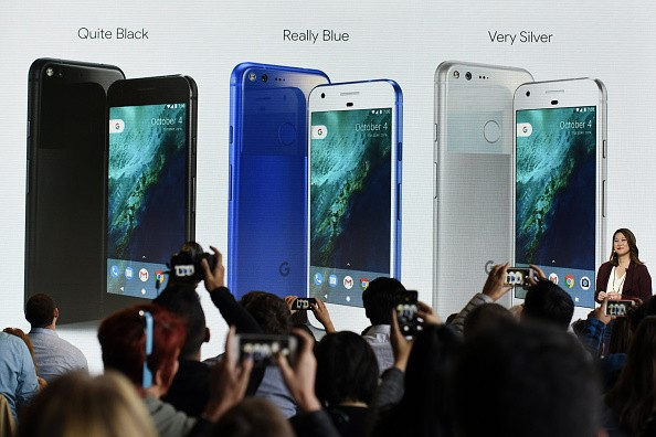 Sabrina Ellis, director of product management for Google Inc., discusses the colorways of Google Pixel smartphone during a Google product launch event in San Francisco, California, U.S., on Tuesday, Oct. 4, 2016. Google is embarking on a wholesale revamp