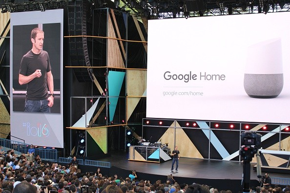 Google vice president of product management Mario Queiroz shows off a Google Home virtual assistant device that could challenge the Amazon Echo at the Internet firm's annual developers conference in the Silicon Valley city of Mountain View, California on