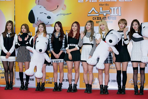 Girl group TWICE attend the photocall for 'The Peanuts Movie' Seoul Premiere at the Lotte Department Store on November 24, 2015 in Seoul, South Korea. The film will open on December 24, in South Korea.