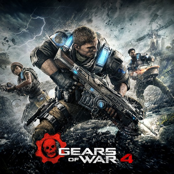 "The image features the ""Gears of War 4"", a game with cross-play support."