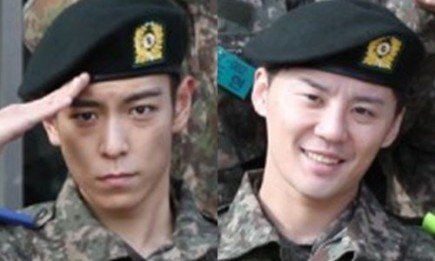 BIGBANG's T.O.P and JYJ's Junsu started their military training on Feb. 9.