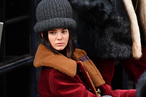 Kendall Jenner sits at the runway for the Marc Jacobs Fall 2017 Show at Park Avenue Armory on Feb. 16, 2017 in New York City.