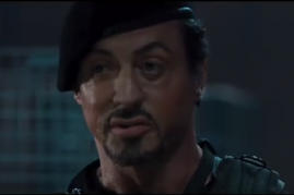 Sylvester Stallone in a scene from the movie 'The Expendables'.