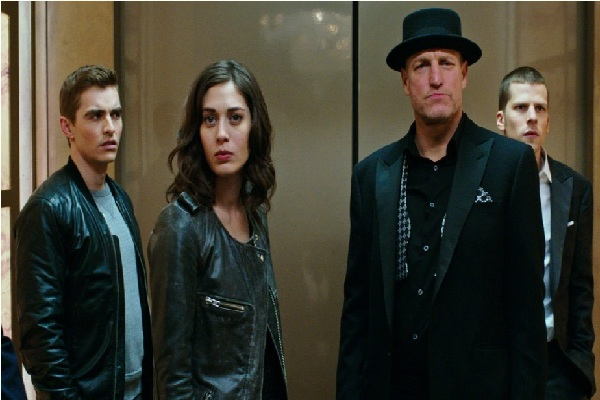 "A screenshot featuring Jesse Eisenberg, Woody Harrelson, Dave Franco and Lizzy Caplan taken from the film ""Now You See Me 2."""