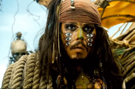 Johnny Depp as Captain Jack Sparrow in the movie 'Pirates of the Caribbean: Dead Man's Chest'.