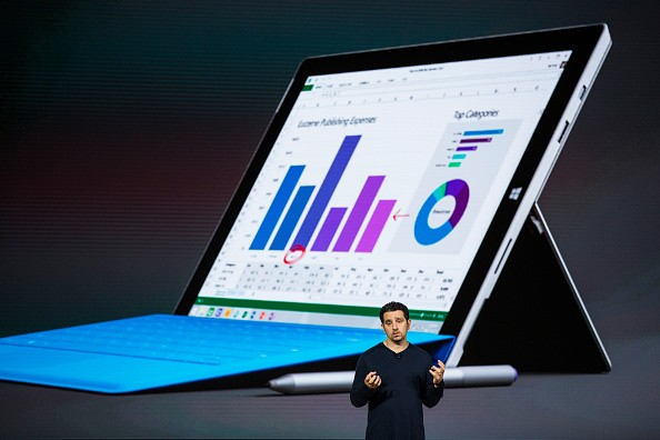 Microsoft Corporate Vice President Panos Panay introduces a new tablet titled the Microsoft Surface Pro 4 at a media event for new Microsoft products on October 6, 2015 in New York City.